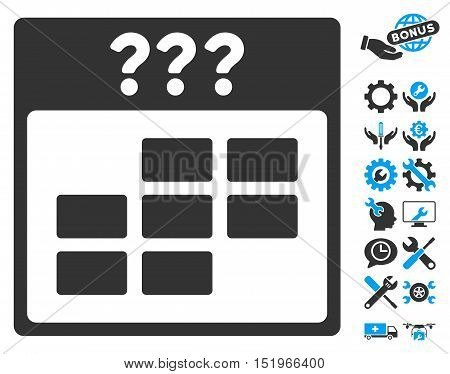 Unknown Month Calendar Grid icon with bonus settings clip art. Vector illustration style is flat iconic symbols, blue and gray, white background.