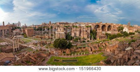 ROME ITALY - September 12 2016: Veiw on the Roman Forum in Rome during sunset.