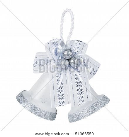 pair of silver bells with bow isolated on white background