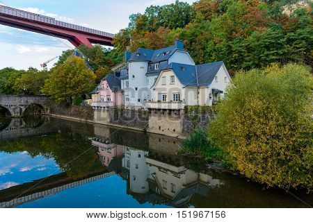 Red Bridge, view from Grund, Luxembourg City