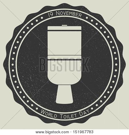 World Toilet Day. November 19. Vector illustration Toilet image on vintage stamp background