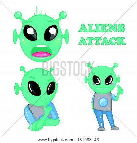 Cartoon alien. Aliens attack. Emotions. Vector art. EPS 10