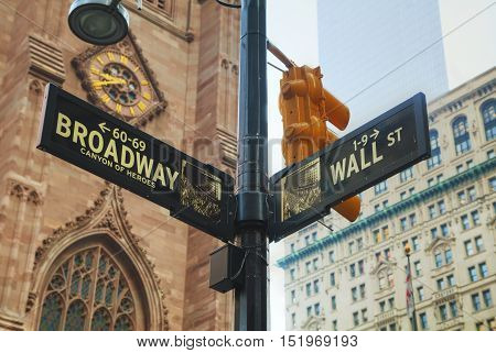 Wall street and Broadway signs in New York City USA