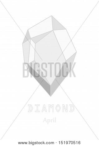 White diamond gem stone, White crystal, Gems and mineral crystal, April birthstone gemstone