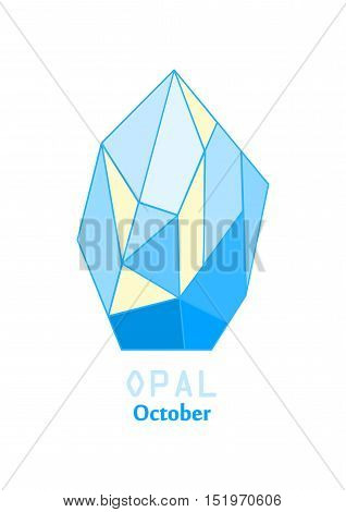 Opal gem stone, Opalescent crystal, Gems and mineral crystal, October birthstone gemstone