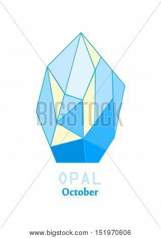 Opal gem stone, Opalescent crystal, Gems and mineral crystal, October birthstone gemstone