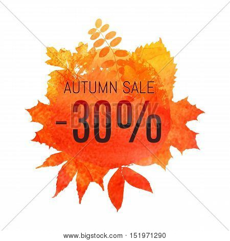 Autumn Leaf Foliage Watercolor. Autumn Sale - 30 % Off . Fall Sale. Web Banner Or Poster For E-comme