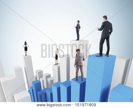 Businesspeople standing on 3D white and blue bar chart. Concept of hierarchy in company and competition inside it.