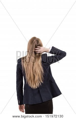 Isolated rear view of girl in business suit scratching her head. Concept of forgetfulness. Mock up