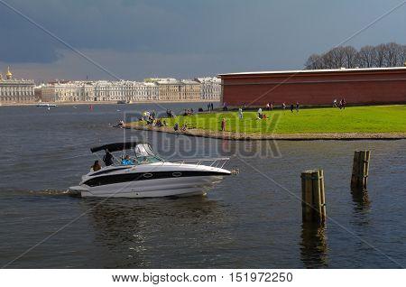 a modern boat in Neva River Saint - Petersburg Russia