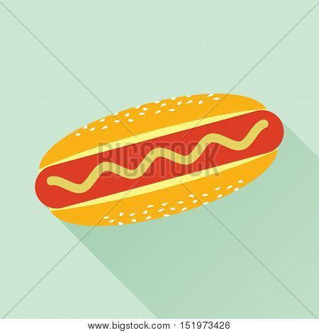 Delicious hotdog with mustard. Isolated flat icon. Fast food symbol for poster, menus, brochure and web. Vector eps8 illustration.