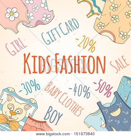 Hand-drawn baby shop discounts. Cute vector kids fashion design can be used for invitation card flyer, banner, sale, website, cover and baby shower design.