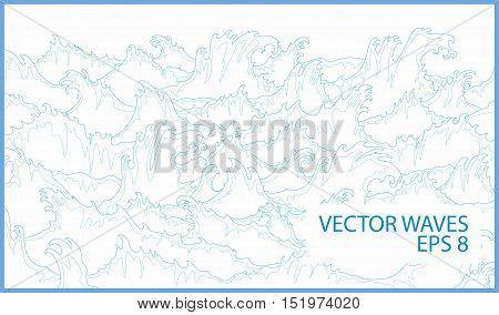Ocean storm waves vector lines on white background