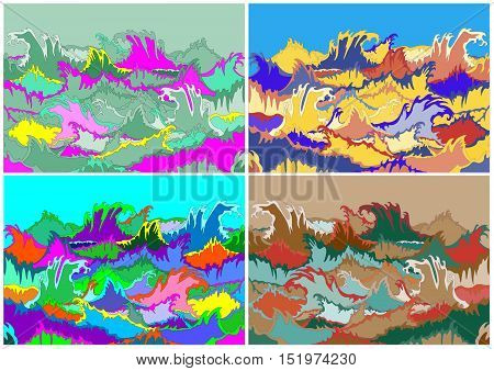 multicolor illustration of storm waves hallucination art