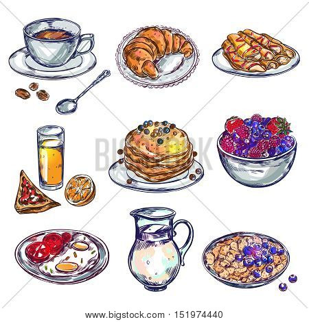 Food breakfast icon set isolated and colored with bakery desserts meals and drinks vector illustration