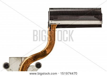 Heatpipe and radiators for cooling of computer processor cooling system isolated on white background