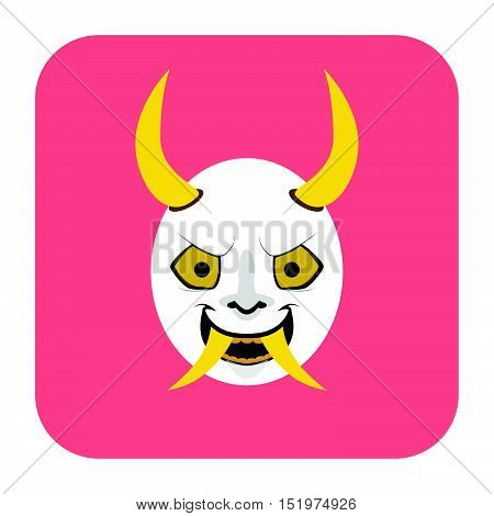 Japanese Demon Mask 2 In Flat Color