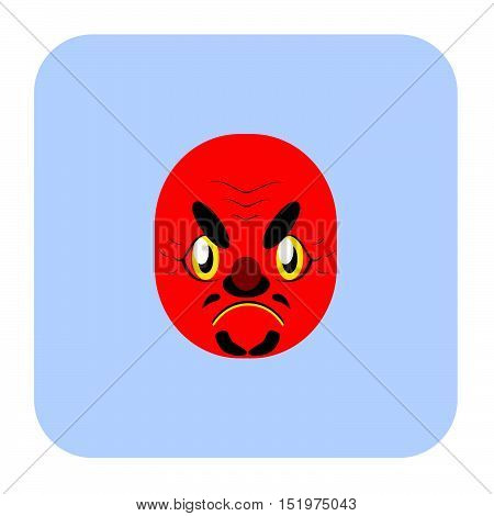 Japanese Demon Mask 3 In Flat Color