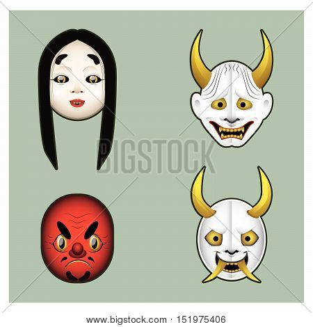 Set Of Japanese Demon Masks With Gradients