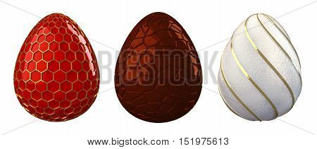 Decorative easter eggs isolated on white , 3d illustration