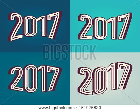 Different variant 2017 number in 3D text effect style. Vector illustration element for your retro vintage design