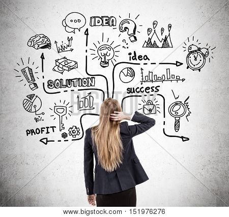 Woman scratching her head and looking at startup sketch drawn on concrete wall. Concept of beginning to show interest in business