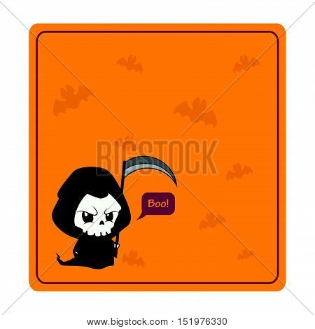 Cute Halloween reaper greeting with orange background