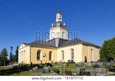 Tornio, Finland - July 20, 2016: The Alatornio church exterior  and a point in the Struve Geodetic Arc is located in the bell tower protected as a world heritage sites .