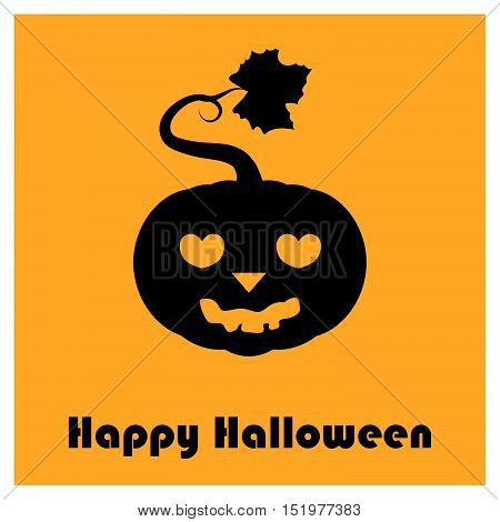Pumpkin Silhouettes With Happy Halloween Text - Lovestruck Face