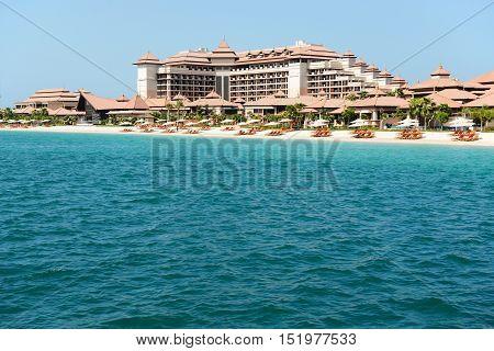 Beach of the luxury Thai style hotel on Palm Jumeirah man-made island Dubai UAE