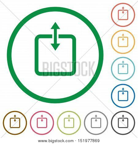 Set of adjust item height color round outlined flat icons on white background