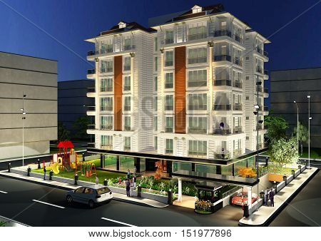 3D architecture render of the building exterior facade