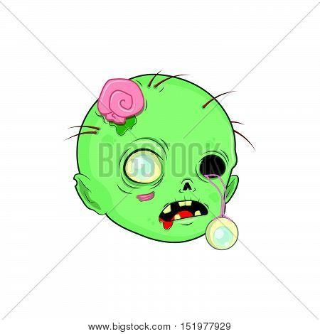 Cute Halloween zombie head illustration art in flat color