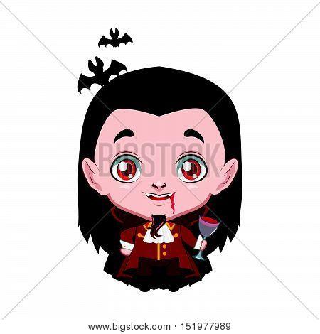 Cute Halloween vampire illustration art in flat color