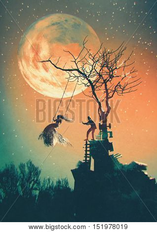 Halloween night background with man pushing woman on swing, illustration painting