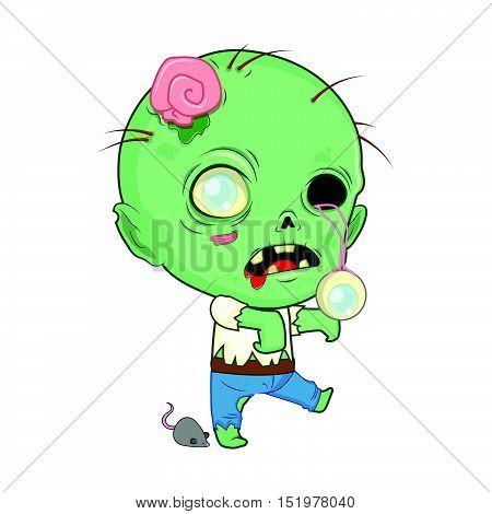 Cute Halloween zombie illustration art in flat color
