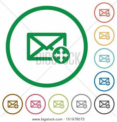 Set of move mail color round outlined flat icons on white background