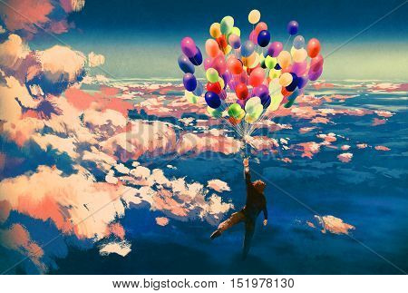 man flying with colorful balloons in beautiful cloudy sky, illustration painting