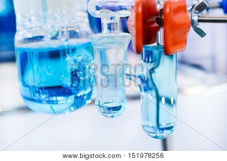 Glass Chemical Equipment, Pipes And Shut-off Valves.