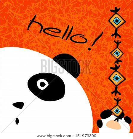 Simple vector postcard with funny white panda.