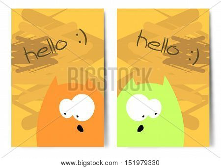 Simple vector illustrations with two funny cats.