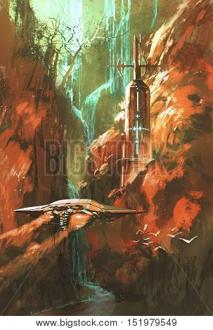 spaceship on background of lighthouse and red canyon, illustration painting