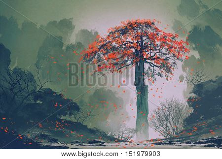 lonely red autumn tree with falling leaves in winter forest, landscape painting