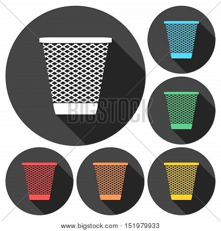 Vector Recycle Bin Trash and Garbage icons set with long shadow