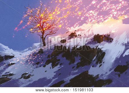 fantasy landscape showing bare tree in winter with glowing snow, digital painting