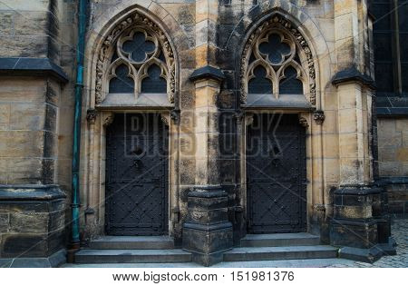 Saint Vitus Cathedral in Prague Czech Republic. Fragment of the southern portal. St Vitus Cathedral - a Gothic Roman Catholic cathedral in Prague Castle the seat of the Archbishop of Prague.