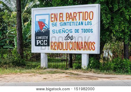 VINALES, CUBA - MARCH 19, 2016: Communist propaganda in the Vinales Valley in Cuba