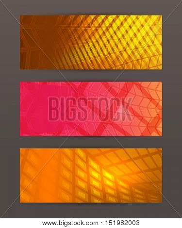 Set Horizontal Banner Headline Abstract Glow Lines10