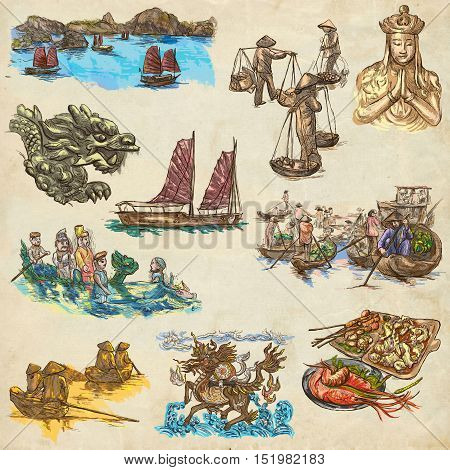 Travel seriesVIETNAM. Socialist Republic of Vietnam. Pictures of Life. Collection of an hand drawn illustrations set. Drawing on old paper