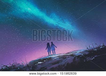 young couple standing holding hands against the Milky Way galaxy, illustration painting